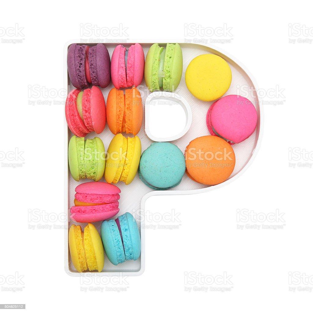 Macaron Letter P stock photo