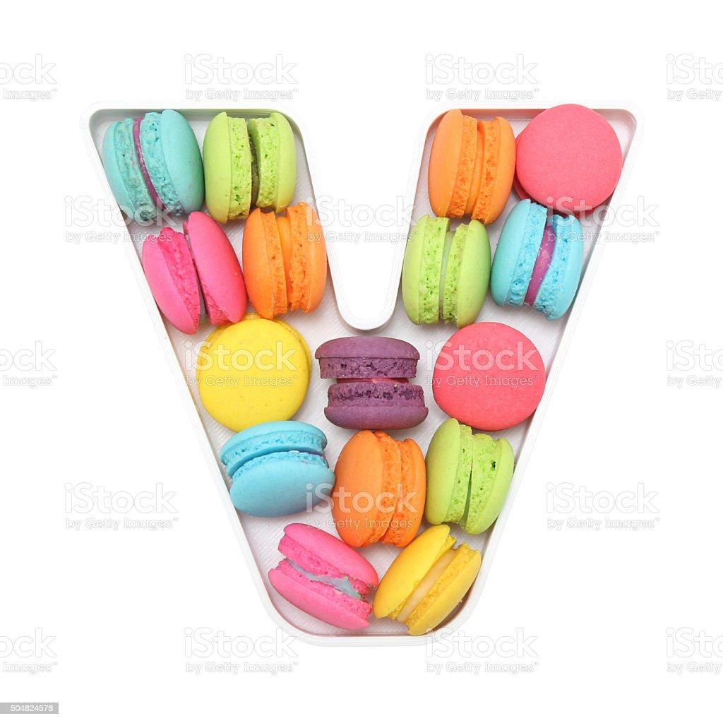 Macaron Letter V stock photo