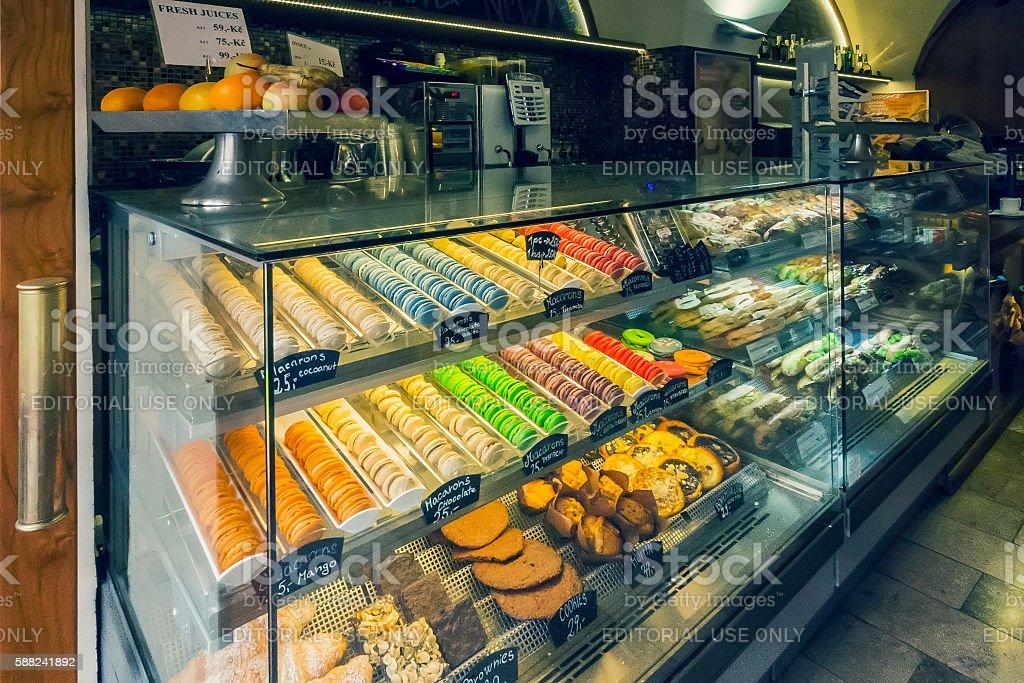Macaron Store in Prague stock photo