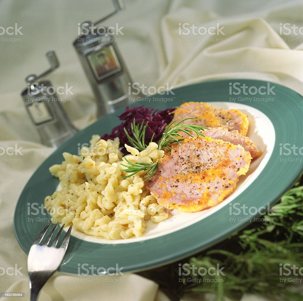 Macaroni and cheese with Canadian Bacon stock photo