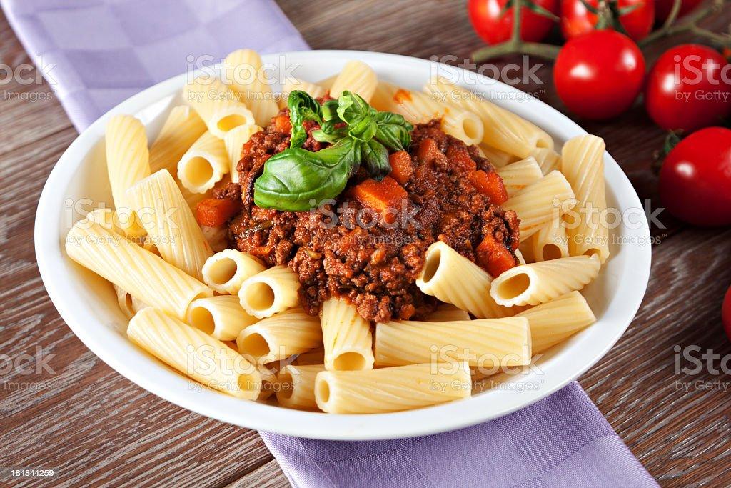 Macaroni Bolognese royalty-free stock photo