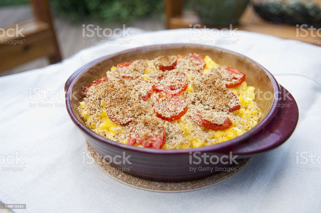 Macaroni Casserole at Outdoor Meal stock photo