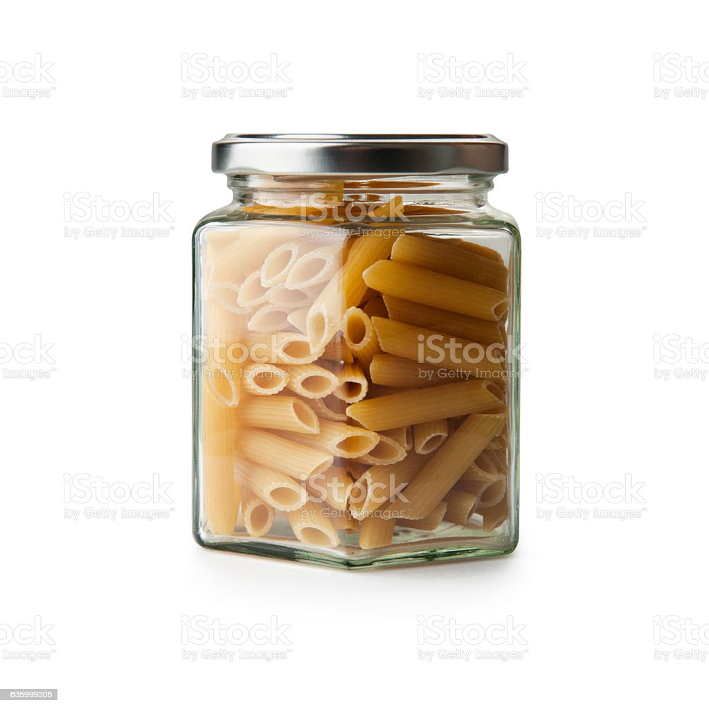 Macaroni in jar stock photo