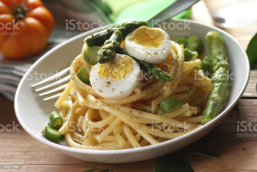 Macaroni with asparagus royalty-free stock photo
