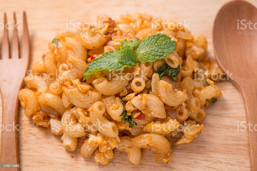 Macaroni  with chicken , tomato sauce, delicious stock photo