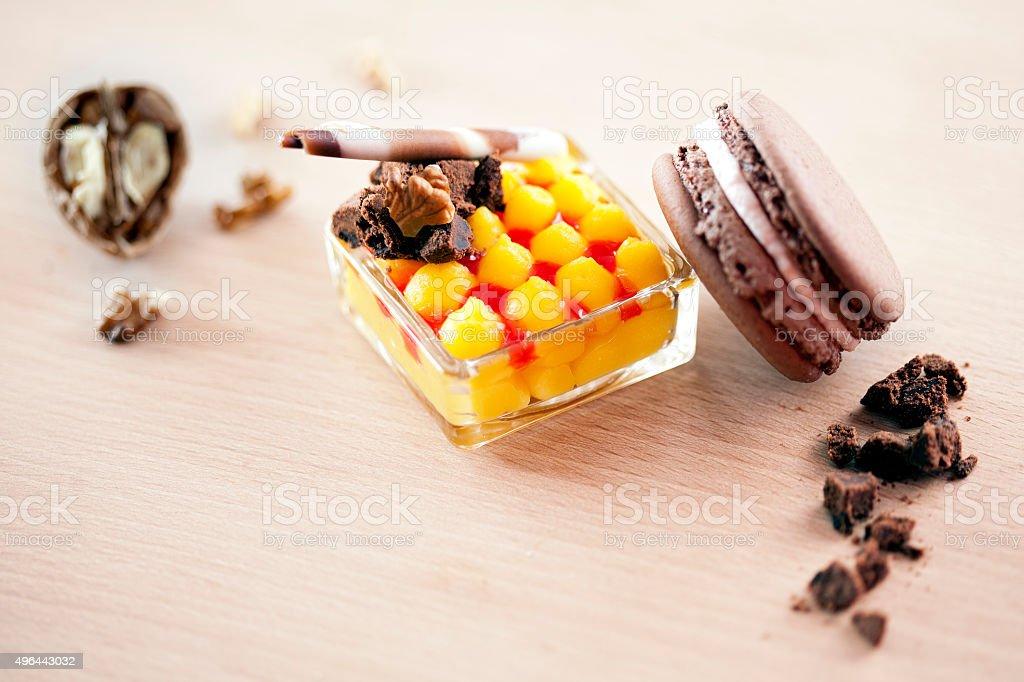 Macarons and dessert stock photo