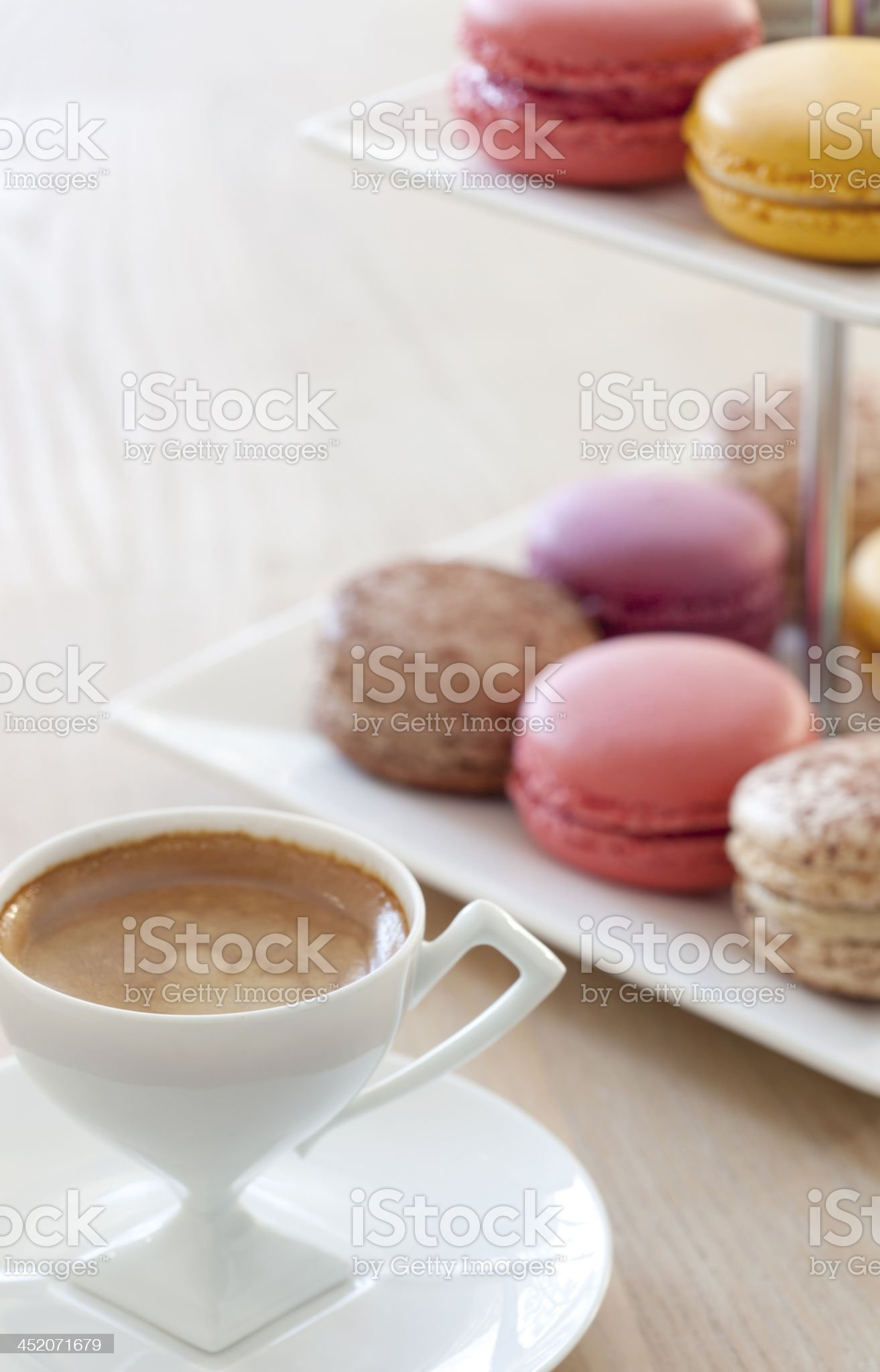 Macarons and Espresso royalty-free stock photo