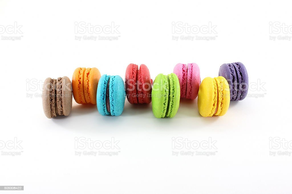 Macarons color concept isolate on white background stock photo