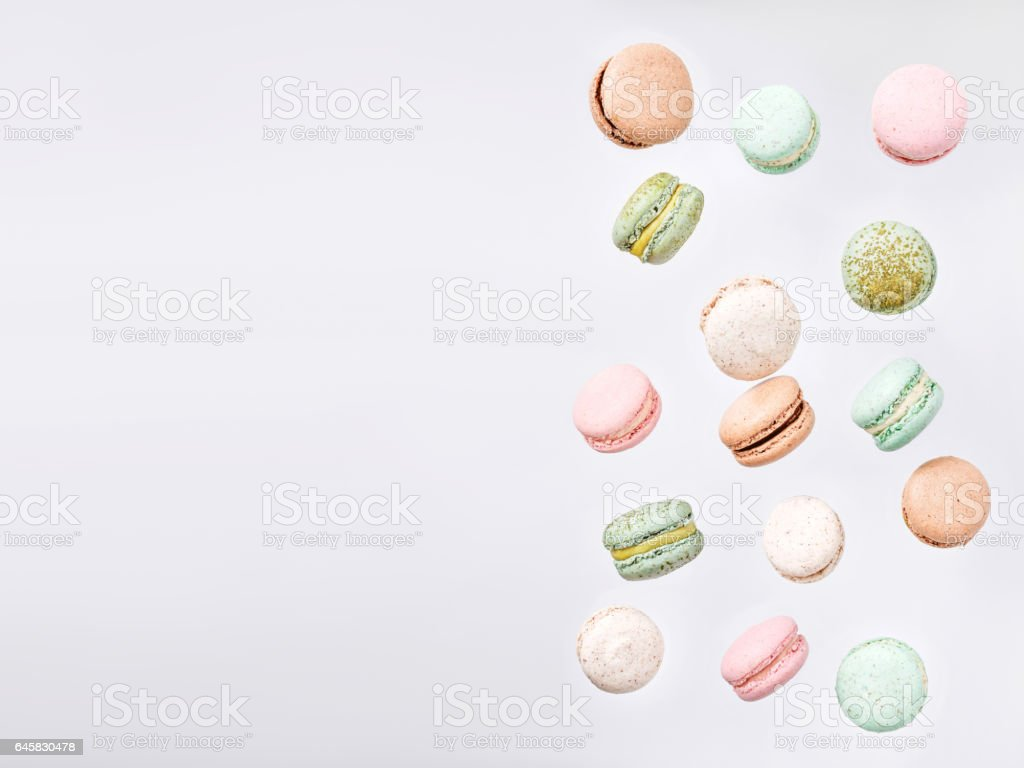 Macarons, fly falling sweet macaroon stock photo