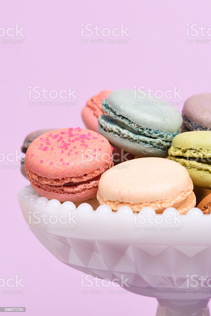 Macarons in a pedestal dish stock photo