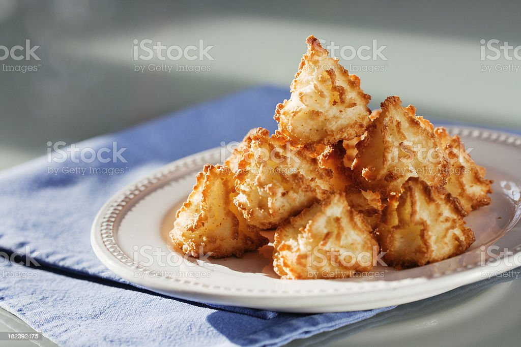 Macaroon on Plate Close-up Horizontal stock photo