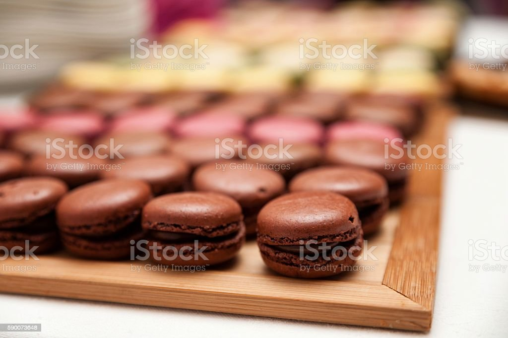 Macaroons in tray stock photo