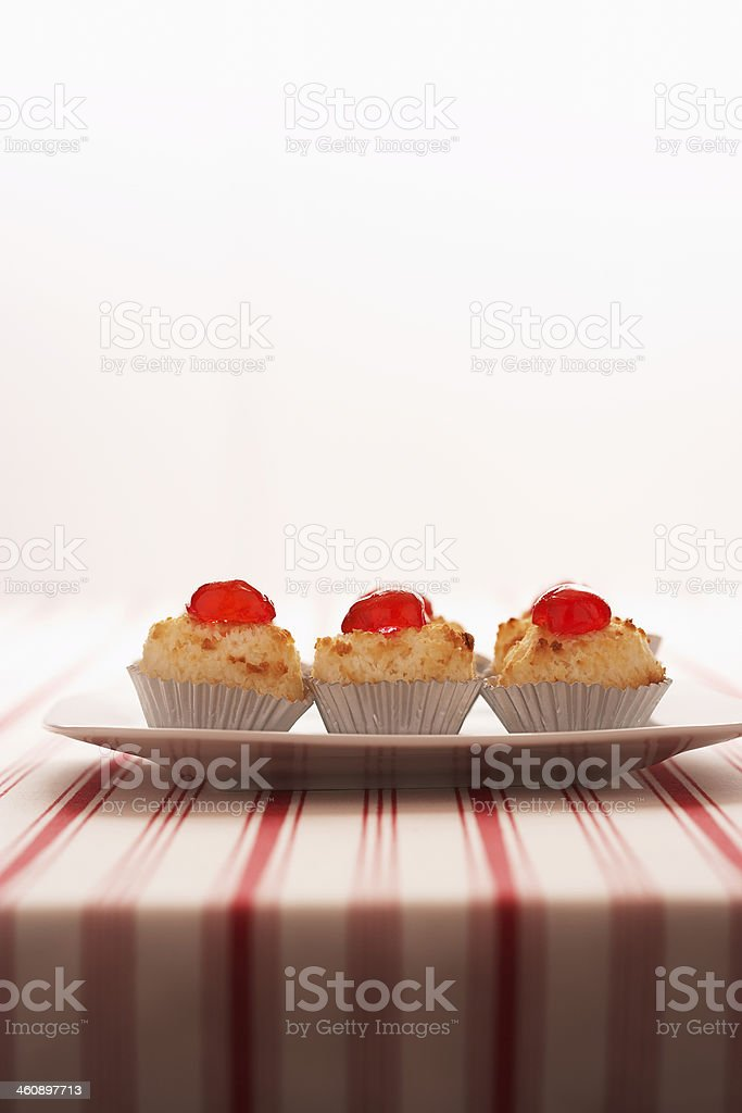 Macaroons on a plate stock photo