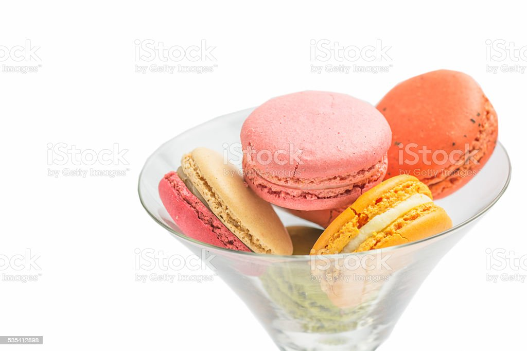 Macaroons on wine glass royalty-free stock photo