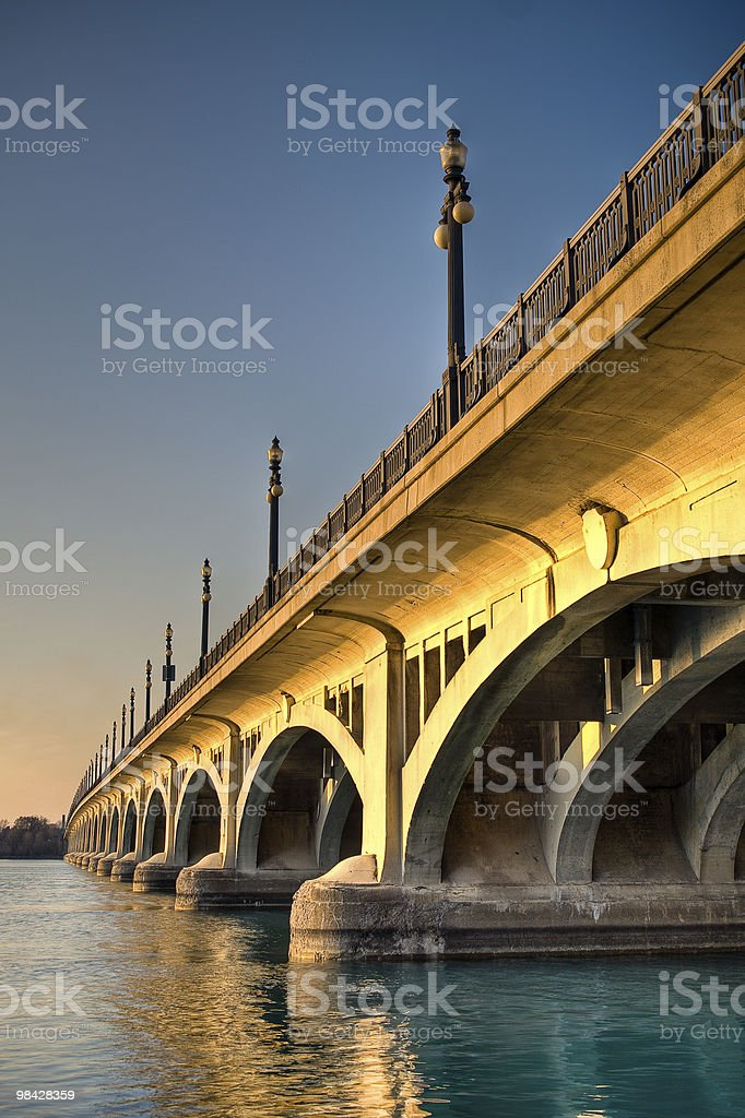 MacArthur Bridge (Belle Isle) at Sunset in Detroit, Michigan stock photo