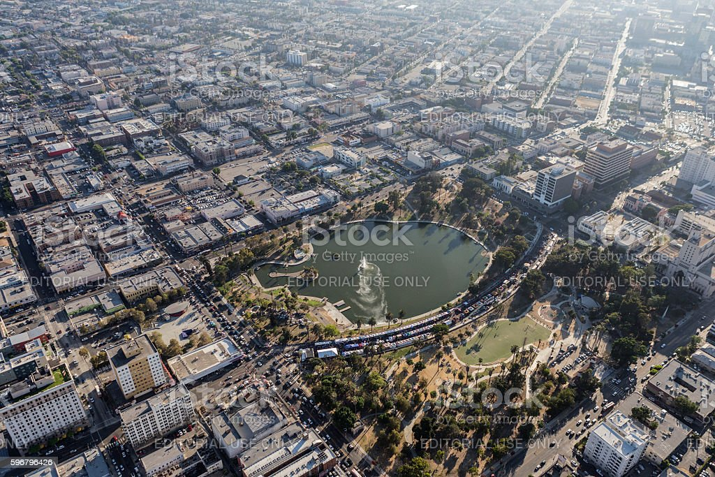 MacArthur Park Los Angeles Summer Smoggy Aerial View stock photo