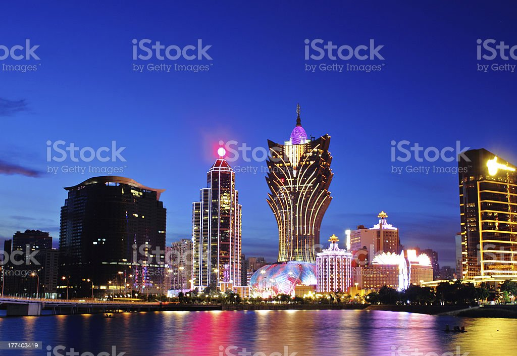 Macau at night stock photo