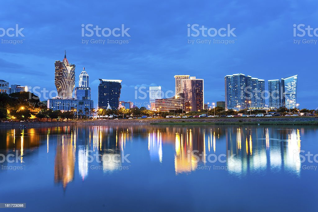 Macau casino at sunset stock photo