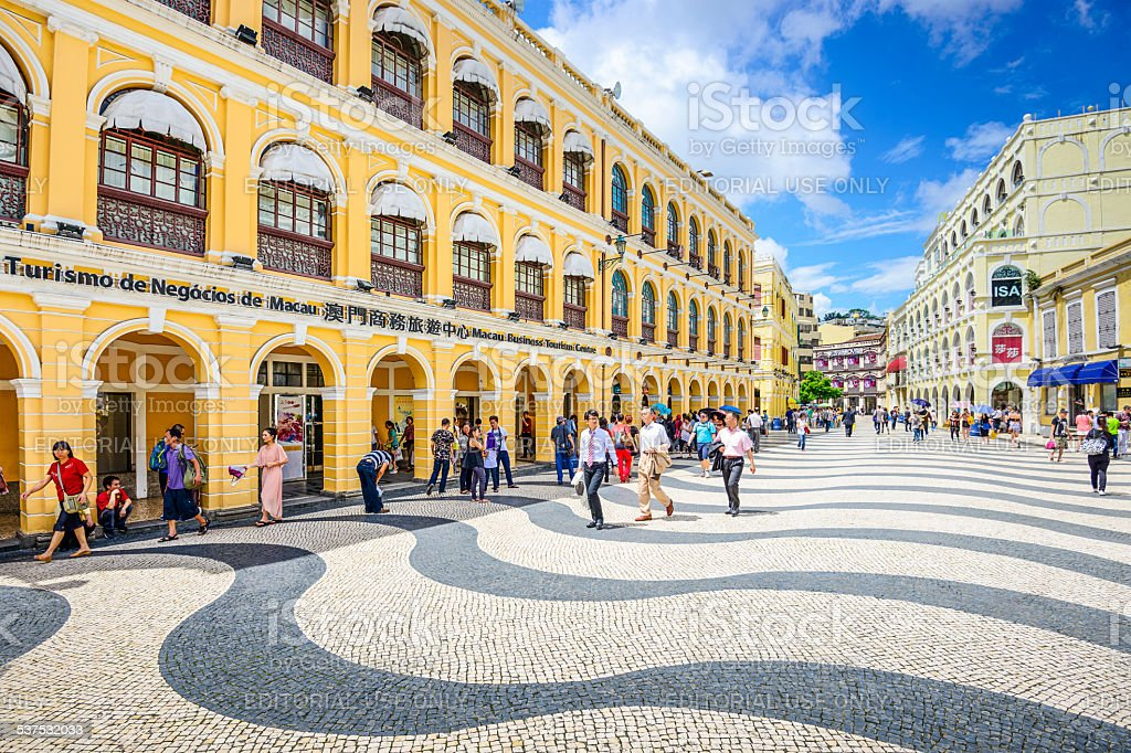 Macau, China at Senado Square stock photo