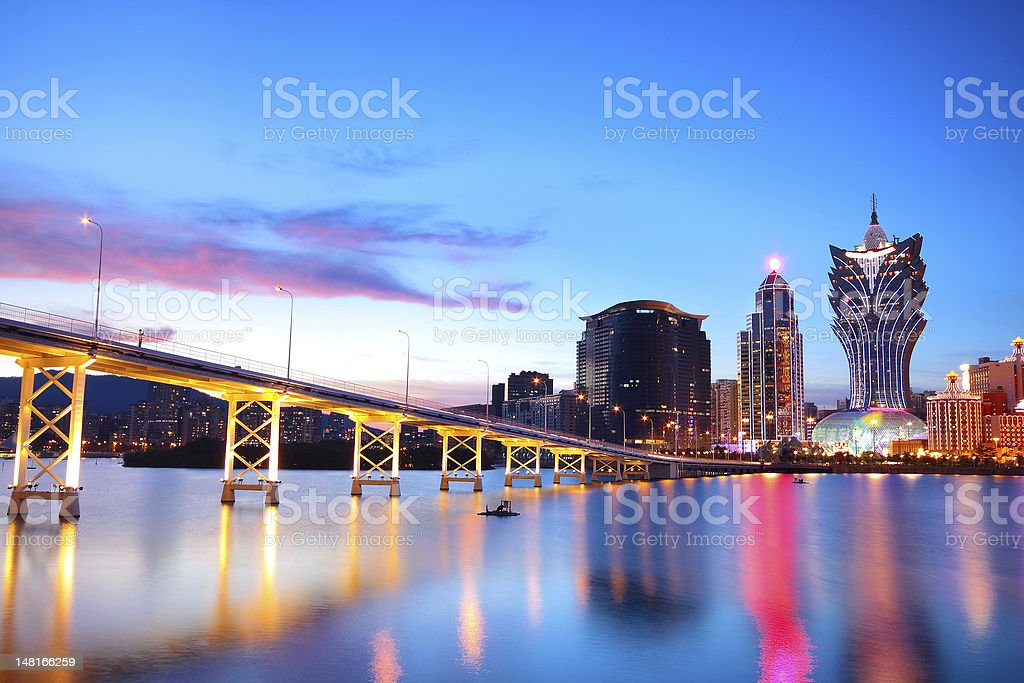 Macau cityscape of bridge and skyscraper Macao, Asia. stock photo