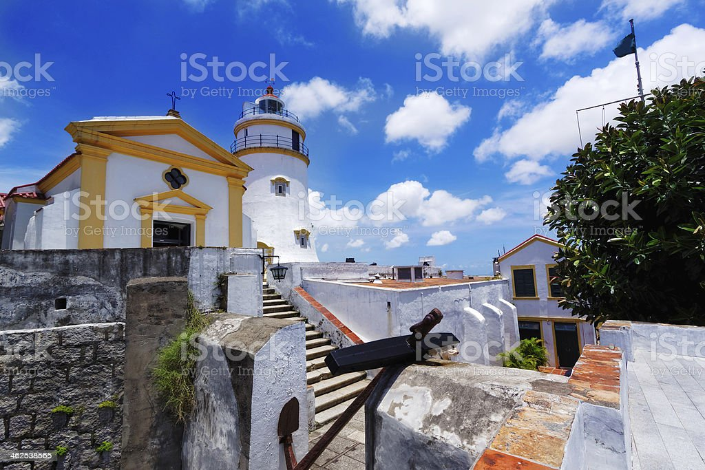 macau famous landmark, lighthouse stock photo