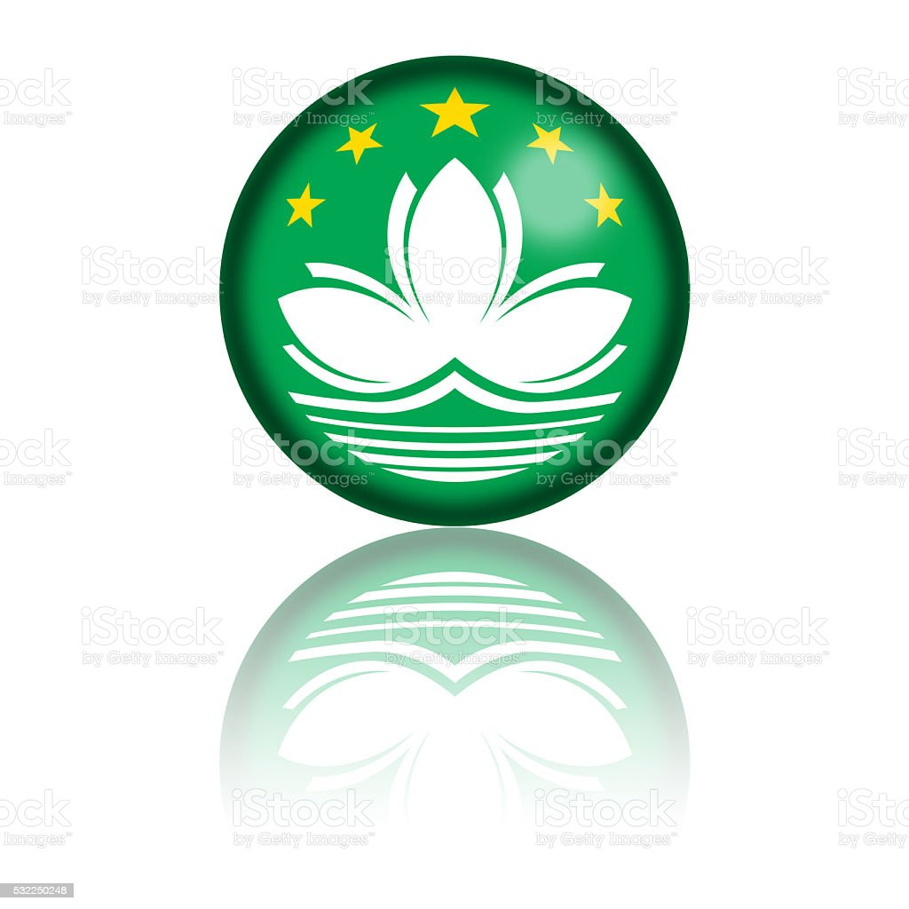 Macau Flag Sphere 3D Rendering stock photo