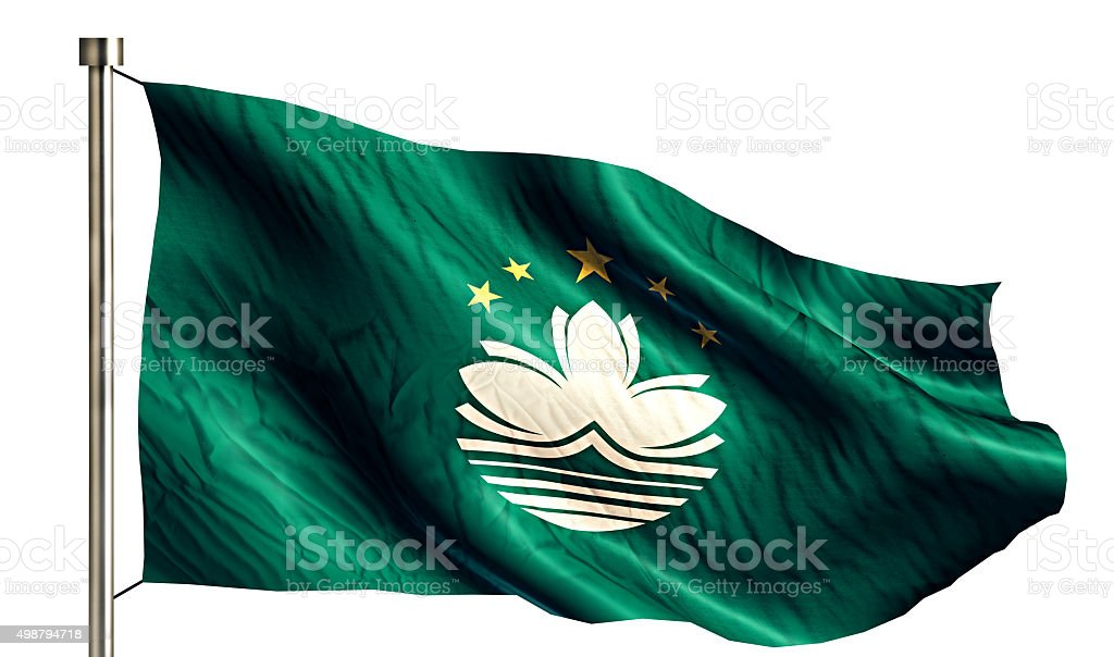 Macau National Flag Isolated 3D White Background stock photo