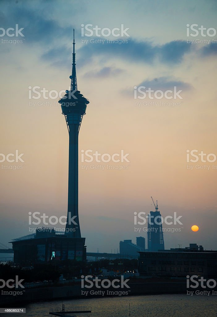 macau tower landmark at sunset in macao macau china stock photo