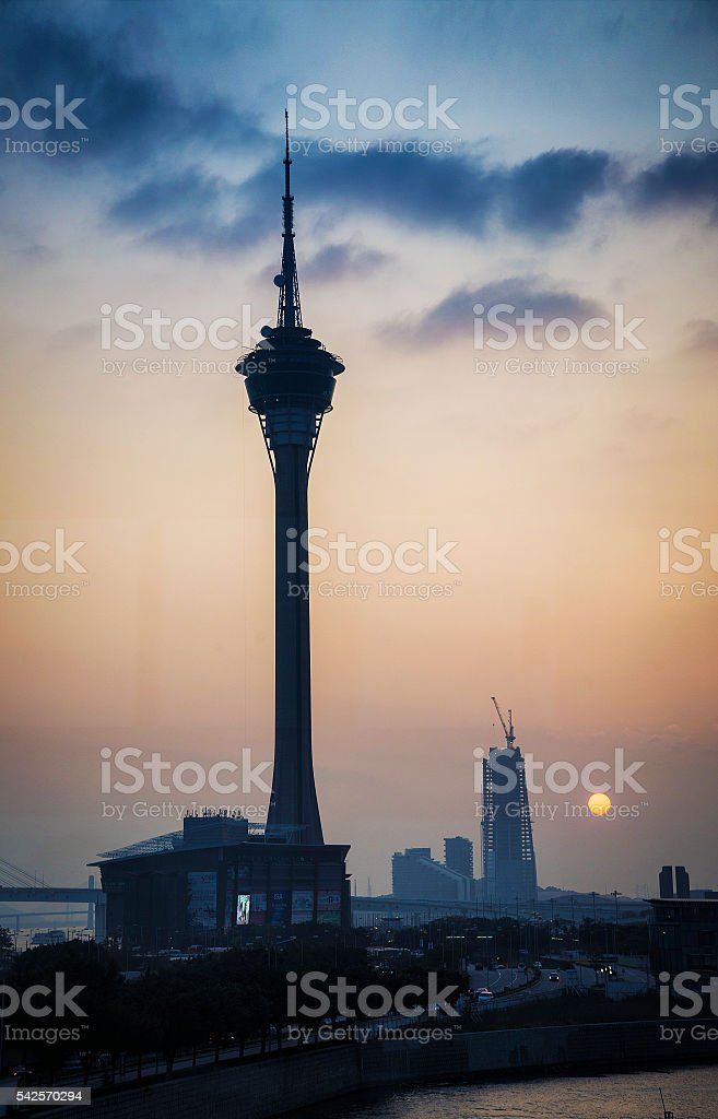 macau tower urban skyline in macao china at sunset stock photo