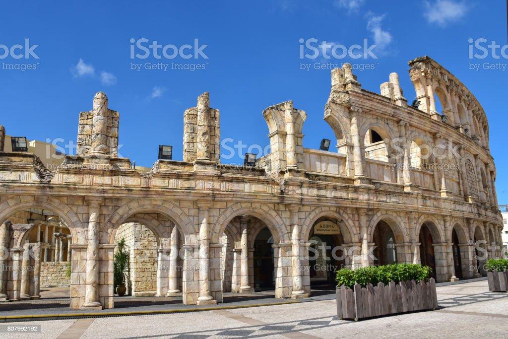 Macau-June 7: Roman Amphitheater or Colosseum in Macau Fisherman's Wharf on sunshine day, China on June 7, 2017 stock photo