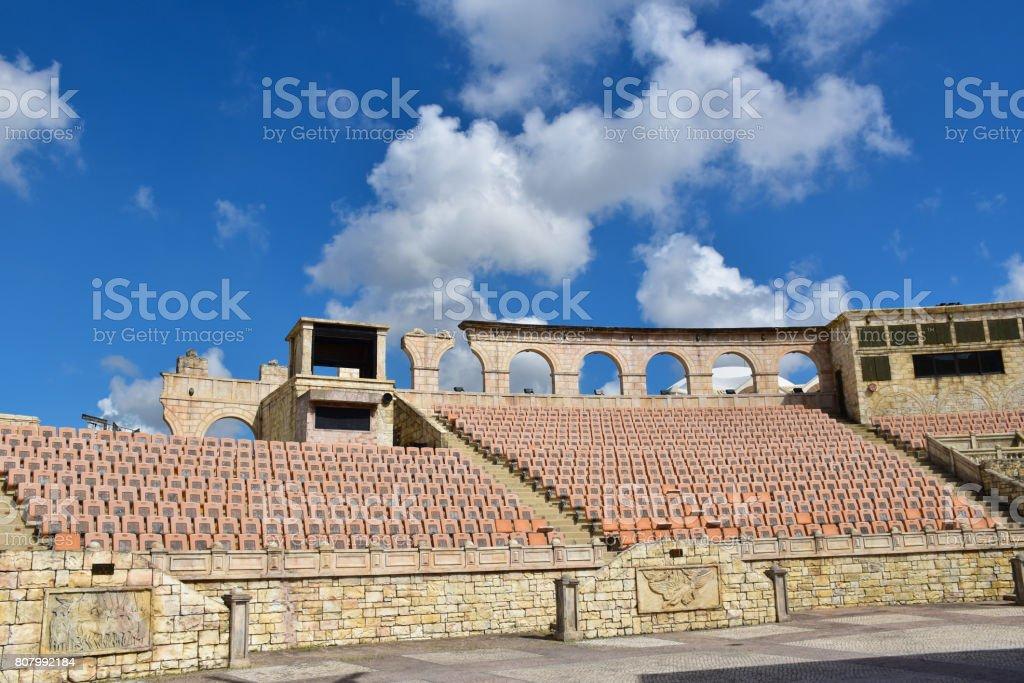 Macau-June 7: Roman Amphitheater or Colosseum in Macau on sunshine day, China on June 7, 2017 stock photo