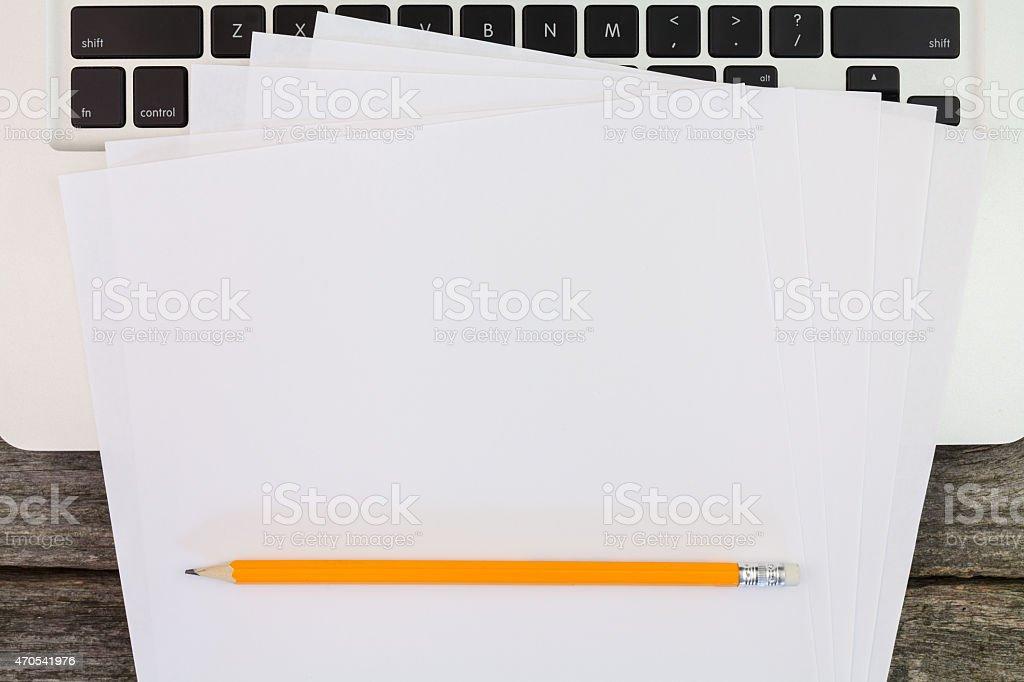 Macboock and notes stock photo