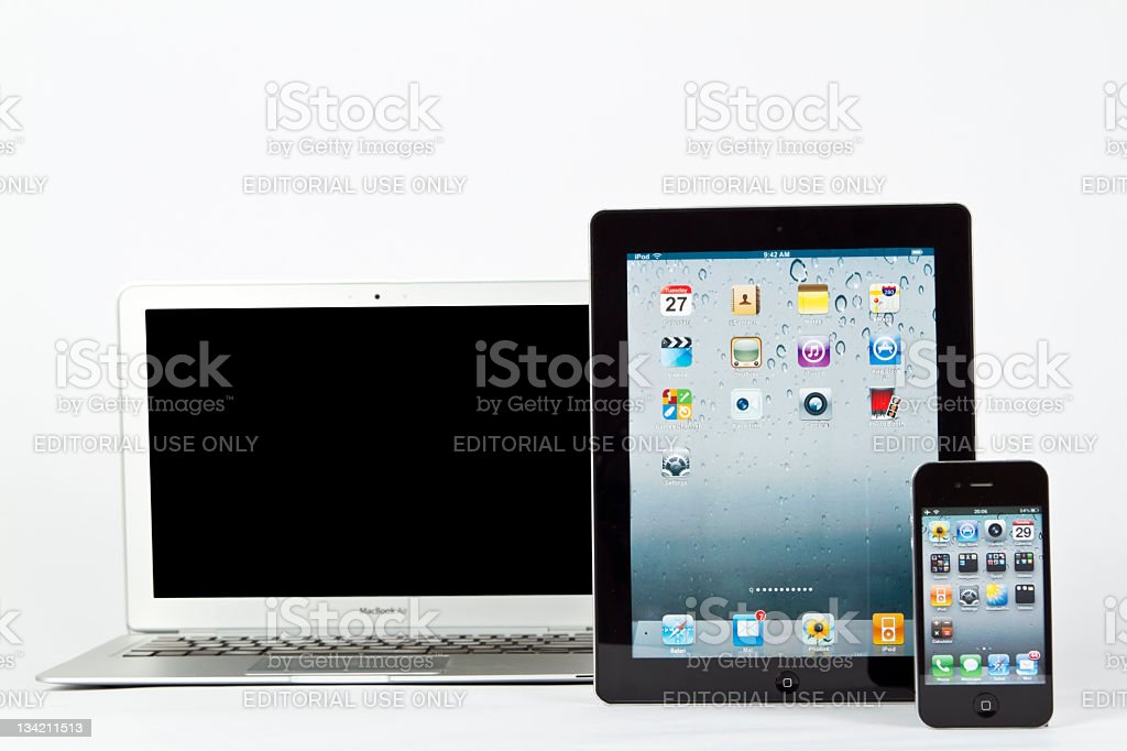 Macbook Air-iPad-iPhone4 royalty-free stock photo