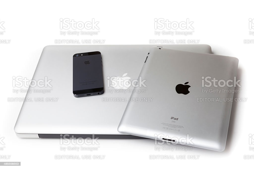 MacBook Pro, iPad and iPhone stock photo