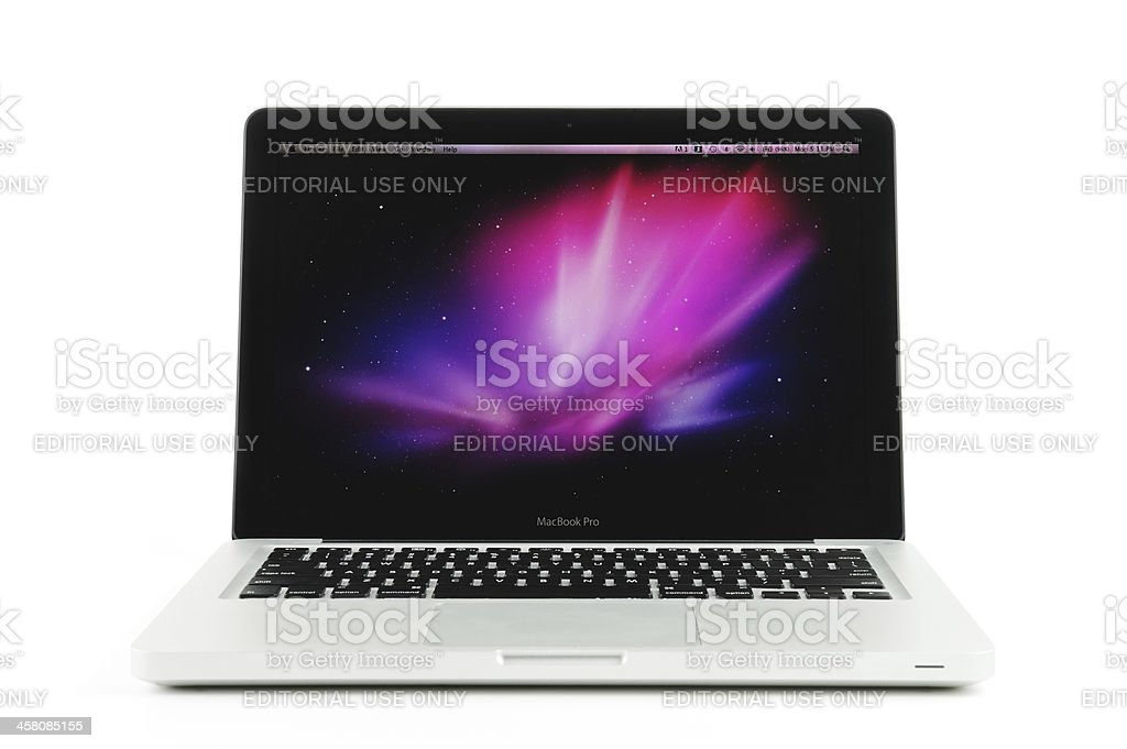 MacBook Pro Laptop with Default Desktop Wallpaper royalty-free stock photo
