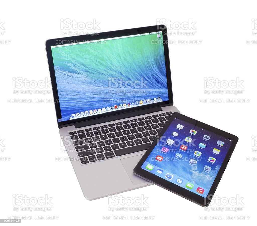 MacBook Pro Retina and iPad Air stock photo