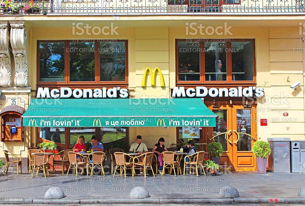 MacDonalds restaurant in Lviv, Ukraine stock photo