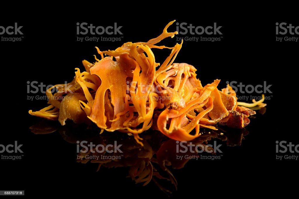 Mace dried spice isolated on black stock photo