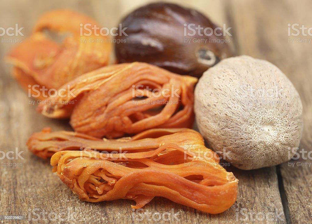 Mace or Javitri Spice with nutmeg stock photo