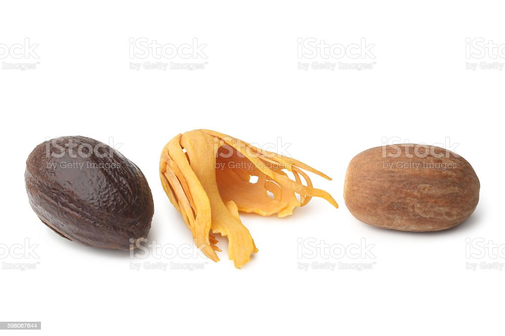 Mace with nutmeg stock photo