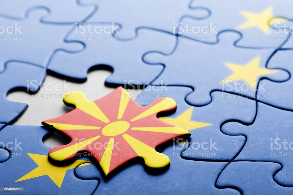 Macedonia. Accession to the European Union concept puzzle. stock photo
