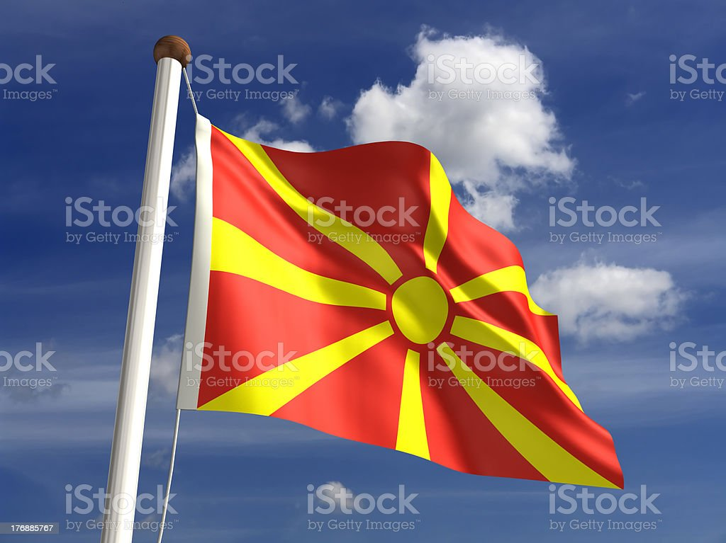 Macedonia flag (with clipping path) stock photo