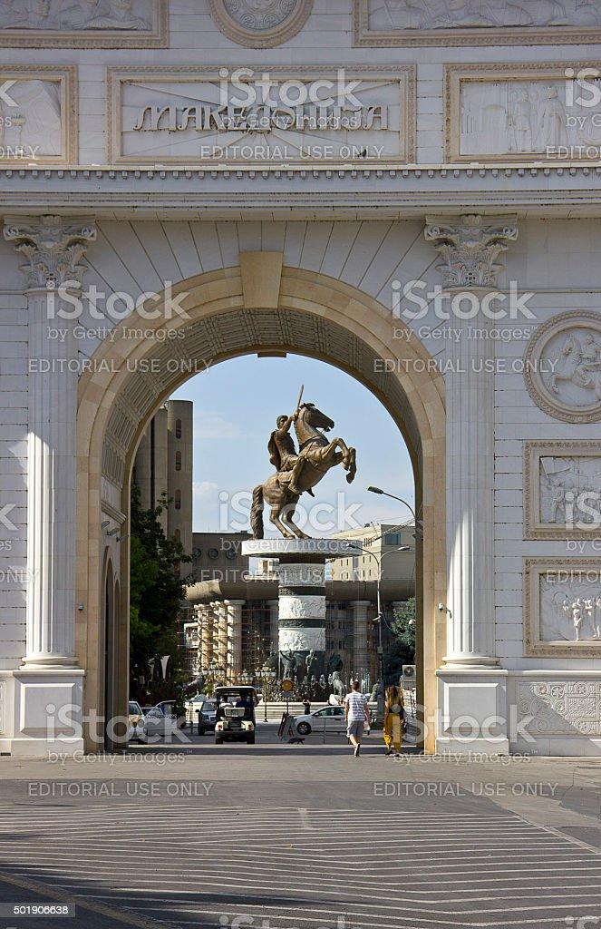 Macedonia Gate Porta Macedonia stock photo