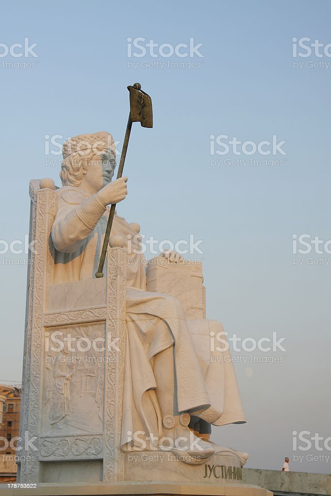 Macedonia, Skopje, Emperor Iustinianus Monument royalty-free stock photo