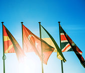 Macedonia, Turkey, Ukraine and United Kingdom flags