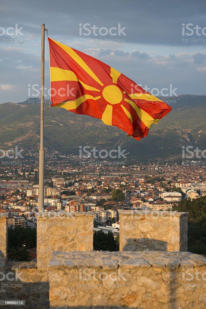 Macedonian flag in Ohrid stock photo
