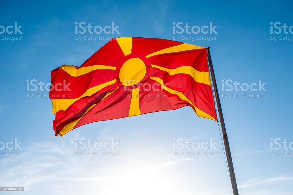 Macedonian flag on the sky background stock photo