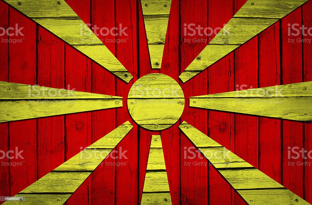 Macedonian flag painted on wooden boards royalty-free stock photo