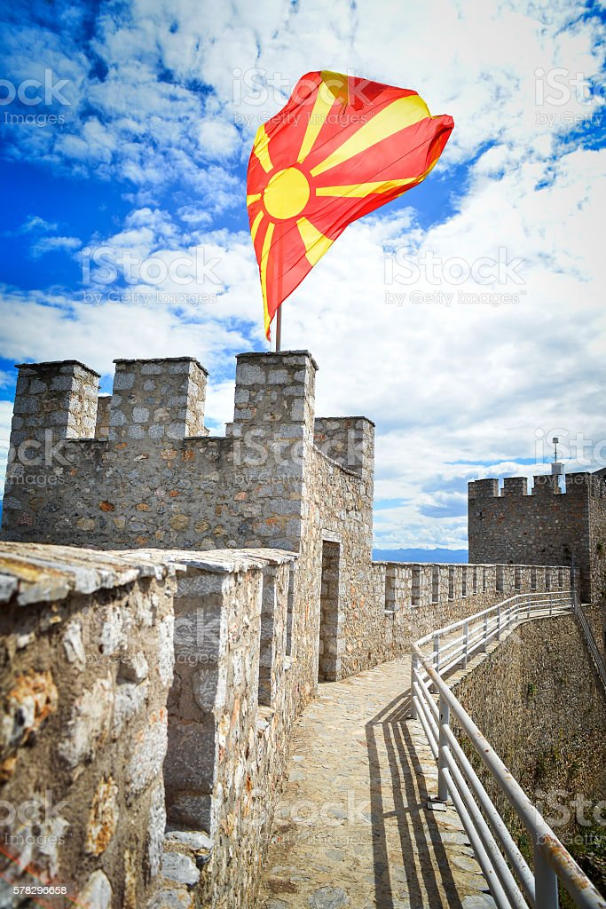 Macedonian flag waving on the Samoil's Fortress in Ohrid stock photo