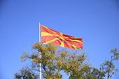 Macedonian flag waving